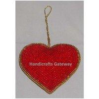 Zari Hand Embroidery Christmas Heart Shape Ornaments