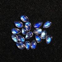 4x6mm Rainbow Moonstone Pear Cabochon Loose Gemstones