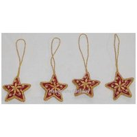Hand Embroidery Star Shape Christmas Hanging Ornament