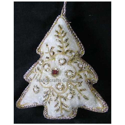 Hand Embroidered Tree Christmas Hanging Ornament