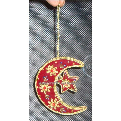 Beautiful Zari Embroidery Hanging Moon Ornament