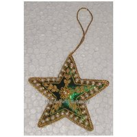 Green Fabric And White Bead Star Shape Christmas Hanging Ornament
