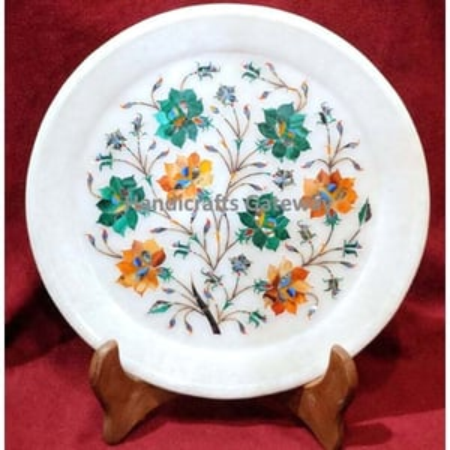 Exclusive Marble With Semi Precious Malachite Stone Flower Design Plate