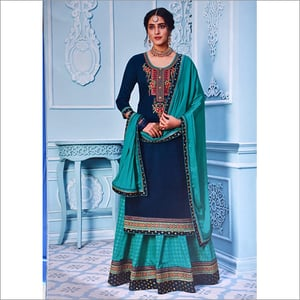 Ladies Jam Silk Suit with Embroidery Work Design