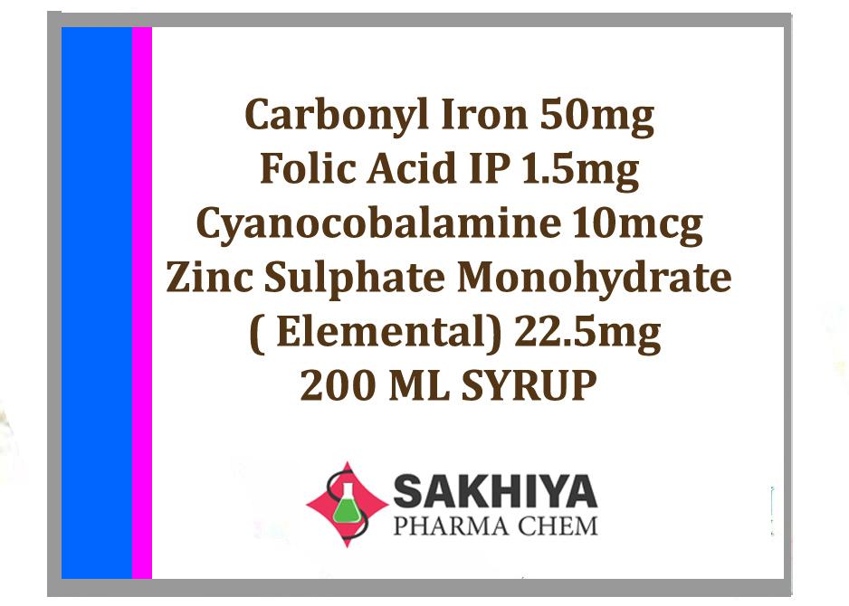 Carbonyl Iron Folic Acid Cyanocobalamine Zinc Sulphate Monohydrate 200ml Syrup