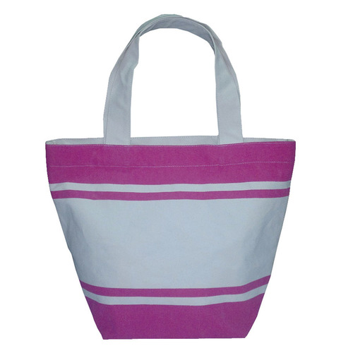 Canvas Tote Bag With Striped Print