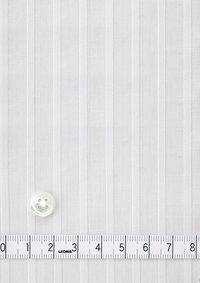 Premium Stretch Easy Care Ruffled Stand Collar Long Sleeve Shirt Stripe White