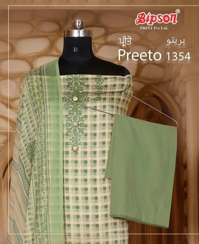 Preeto-1354 Glace Cotton Print Dress Materials