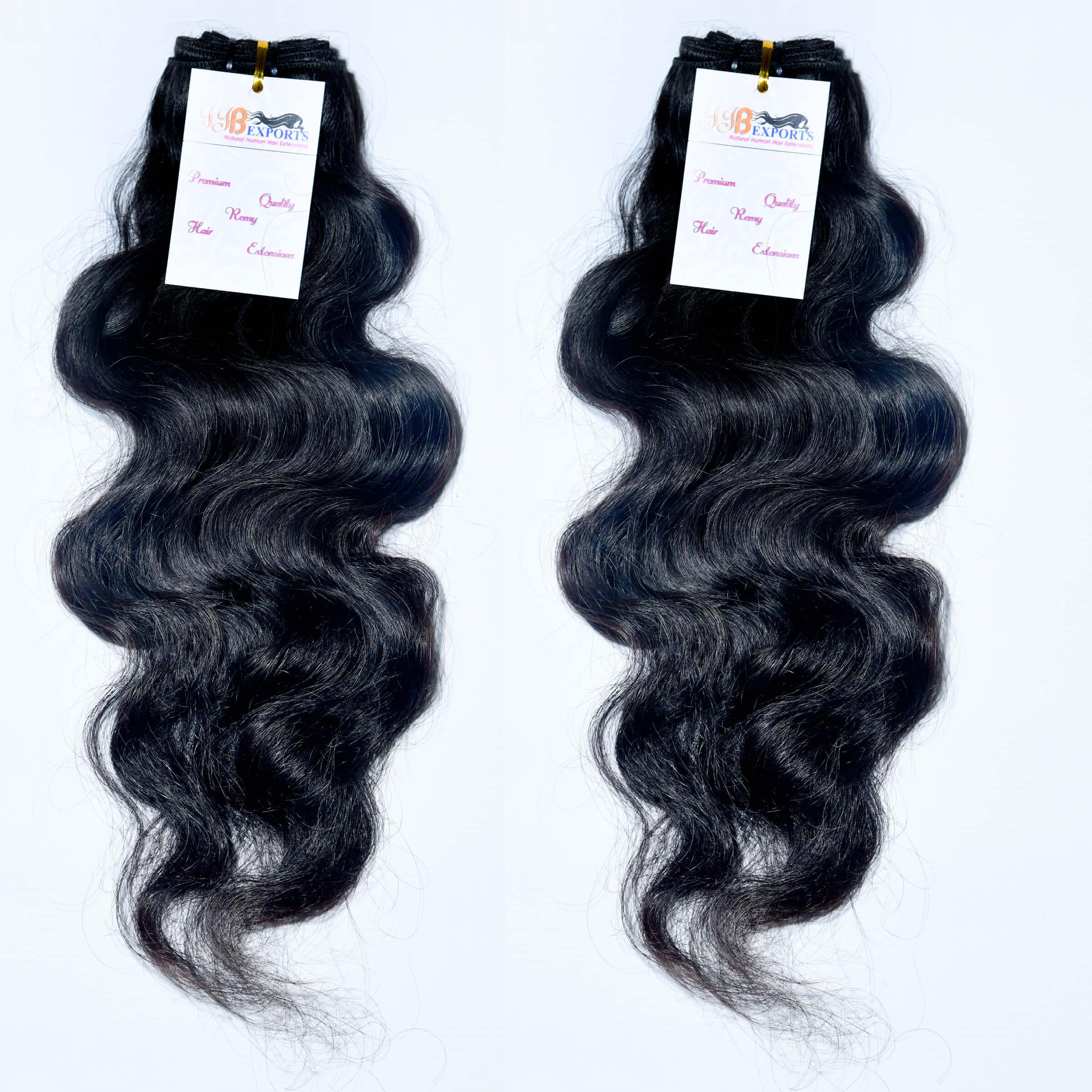 Natural Virgin Wavy Natural Color Machine Weft Raw Human Hair Bundle