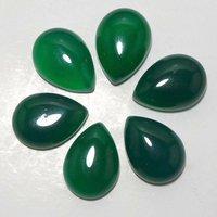 8x12mm Green Onyx Pear Cabochon Loose Gemstones