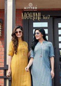 Mohini Vol 7 Rayon Weaving Stripes Kurtis With Pant