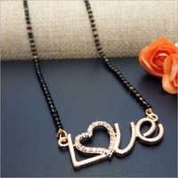 American Diamond Gold Plated Love Mangalsutra Pendant