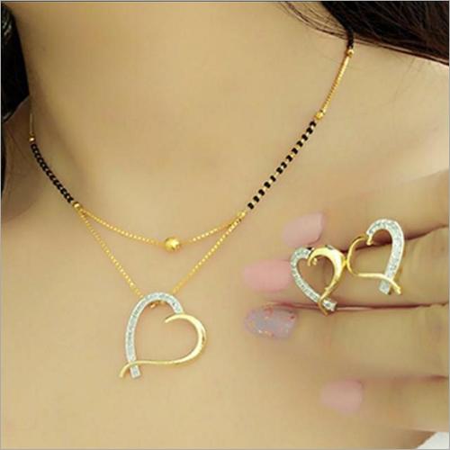 Heart Shape American Diamond Gold Plated Necklace Pendant