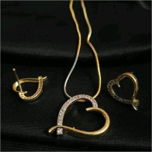 American Diamond Gold Plated Heart Shape Mangalsutra Pendant