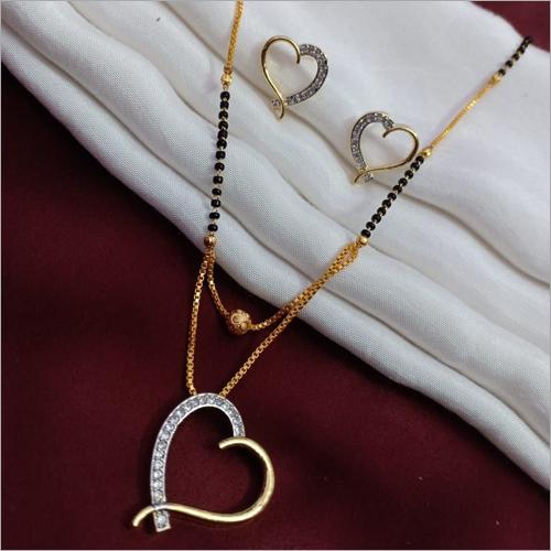 American Diamond Gold Plated Mangalsutra Heart Shape Pendant