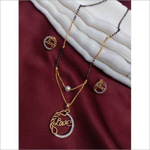 American Diamond Gold Plated Love Pendant Mangalsutra