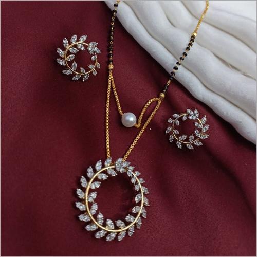 American Diamond Gold Plated Pendant Mangalsutra