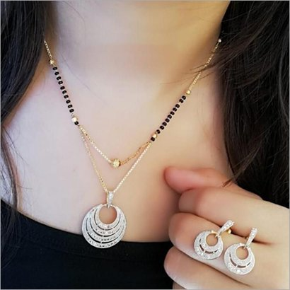 American Diamond Gold Plated Mangalsutra Pendant With Earrings Set Gender: Women
