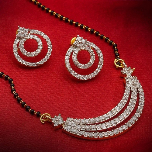 American Diamond Gold Plated Mangalsutra Pendant with Chain and Earrings