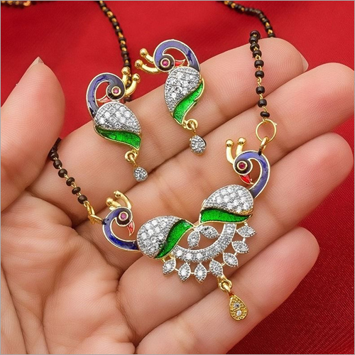 American Diamond Gold Plated Designer Mangalsutra Pendant