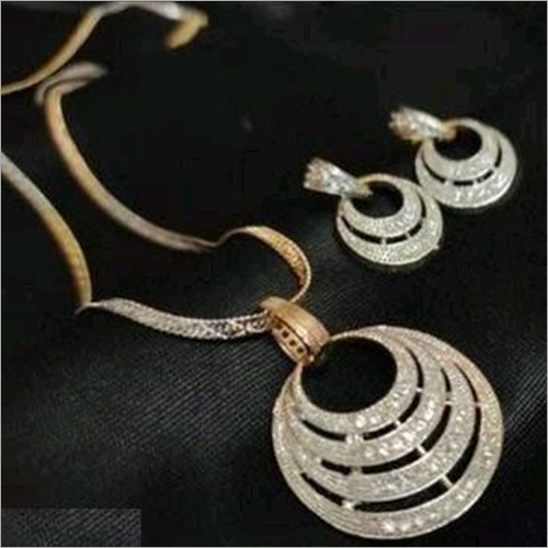 Chand Chain American Diamond Gold Plated Necklace Pendant with Chain and Earrings