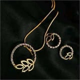 American Diamond Gold Plated Pendant with Chain and Earrings