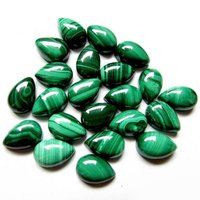 5x7mm Malachite Pear Cabochon Loose Gemstones