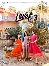 Level 3 Cotton With Embroidery And Manual Work Kurti