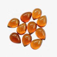 6x9mm Hessonite Garnet Pear Cabochon Loose Gemstones