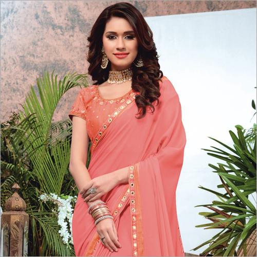 Dyed Border Saree