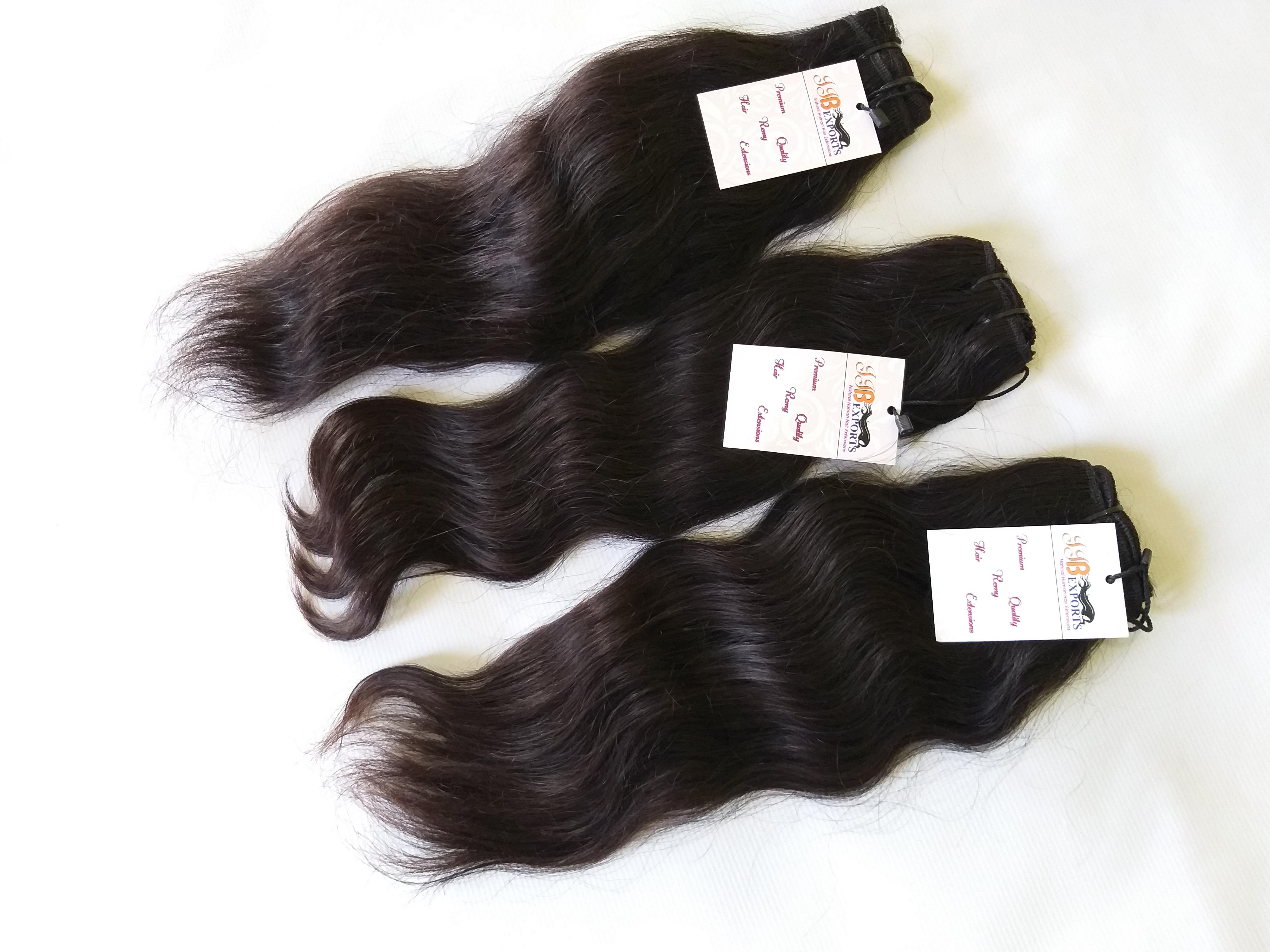 Single Drawn Machine Wefted Tangle Free Wavy Human Virgin Hair Bundle