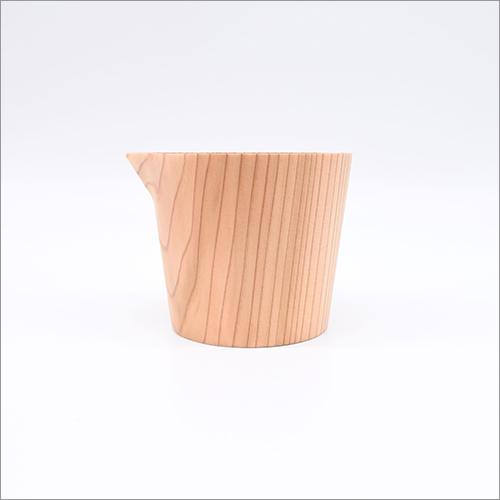 Natural Wooden Handmade Spouted Serving Bowl Dinnerware Sake and Dressing or Sauce Container Japan