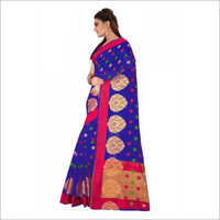 Blue Stylish Cotton Silk Saree