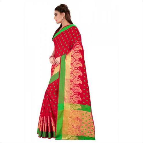Red Printed Cotton Silk Saree