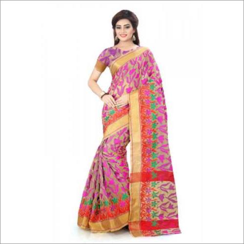 Flower Print Cotton Silk Saree