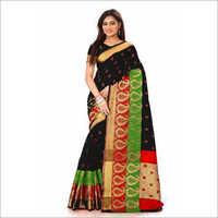 Black Double Keri Print Cotton Silk Saree