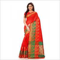 Red Double Keri Print Cotton Silk Sarees