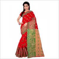 Red Mor Print Cotton Silk Sarees