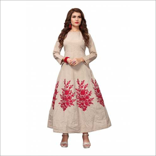 Long Design Embroidery Gown