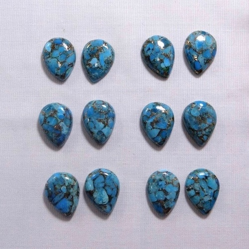8x12mm Blue Copper Turquoise Pear Cabochon Loose Gemstones