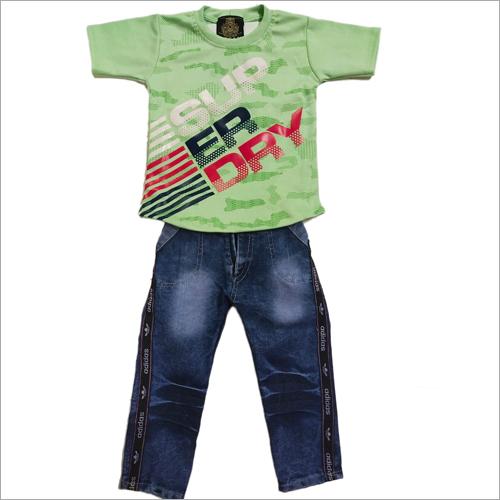 Boys T Shirt With Denim Pant Set