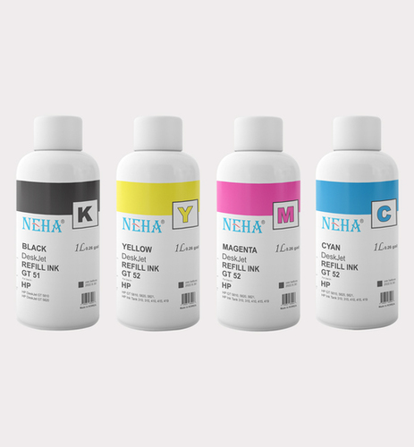 NEHA GT51 BLACK, GT52 COLOR FOR USE IN HP INK TANK 419,415,319,315,5820,5821 (1Litre)