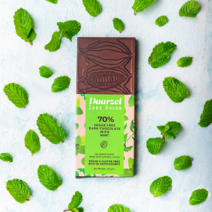 Sugar Free Dark Chocolate   70%  Cocoa With Mint    Vegan   Gluten Free   No Added Sugar   Made with Stevia   50g