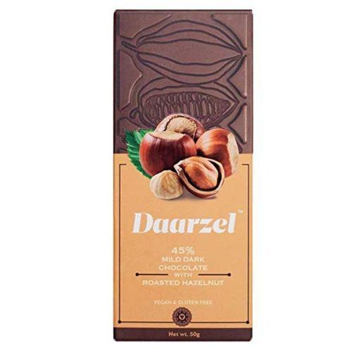 Dark Chocolate 45% Cocoa With Roasted Hazelnut   Vegan & Gluten Free   50 G