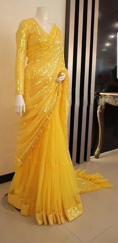 Yellow seqcvans Saree