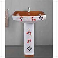Polo Designer Print Pedestal Wash Basin