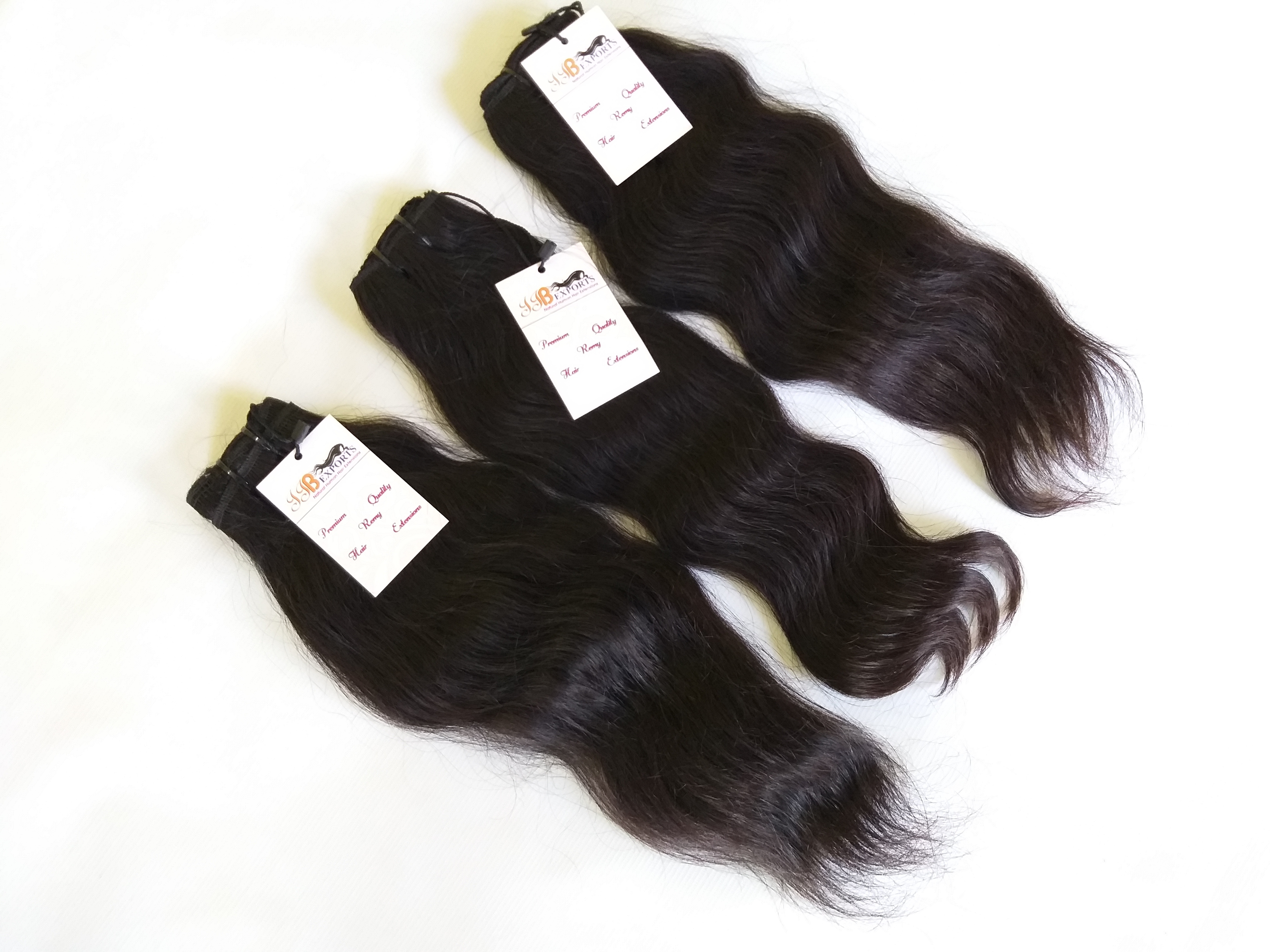 Raw Unprocessed Cuticle Aligned Mink Tangle Free Natural Wavy Human Hair Bundle