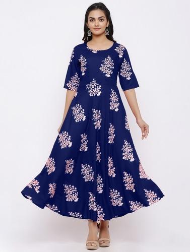 Womanica Trendy Rayon Gown Kurtis