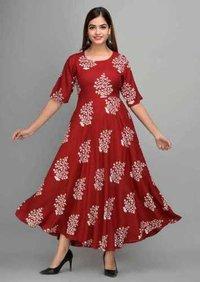 Womanica Trendy Rayon Kurtis Gown