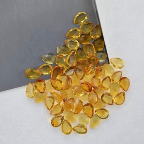 4x6mm Citrine Rose Cut Pear Loose Gemstones